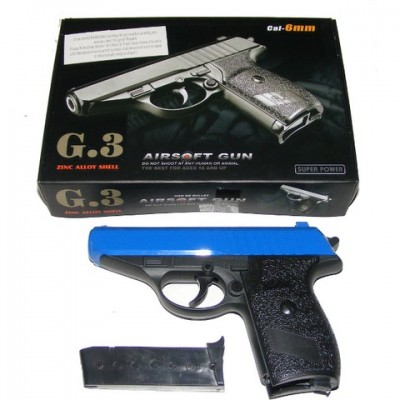 Galaxy G3 Spring Powered PPK Blue Metal BB Gun Pistol 250 FPS
