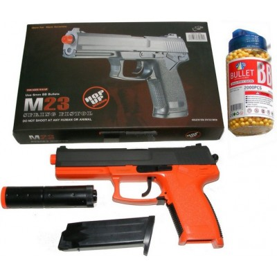 Double Eagle M23 Spring Powered Orange Plastic BB Gun + Silencer & 2000 Pellets