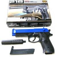 BB Sports 218 Spring Powered Blue Plastic BB Gun Pistol With Silencer (M92 Replica)