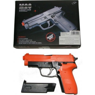 Double Eagle M26 Spring Powered Orange Plastic BB Gun Pistol