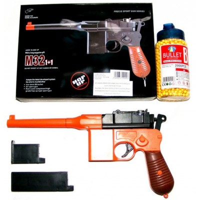 Double Eagle M32 Orange + Black Spring Powered BB Gun Pistol (Mauser Replica) & 2000 Pellets