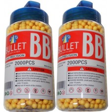 2 Tubs of 2000 Yellow 0.15g Plastic 6mm BB Gun Pellets (4000 Pellets)