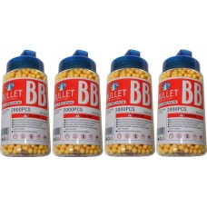 4 Tubs of 2000 Yellow 0.15g Plastic 6mm BB Gun Pellets (8000 Pellets)