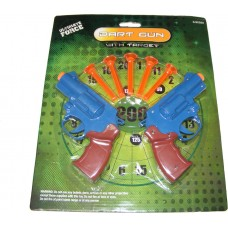 Set of 2 Plastic 14cm Dart Guns with 5 Soft Darts