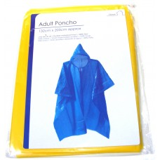 Adult Plastic Poncho with Hood - Choice of 4 Colours